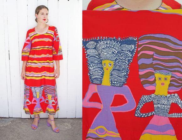 SOLD Red Cotton Wearable Art Print Dress | Medium - Coast to Coast Mobile Vintage
