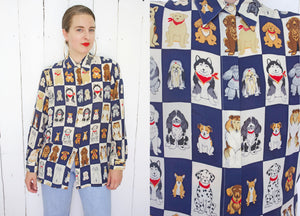 SOLD Silk Dog Print Blouse | Large