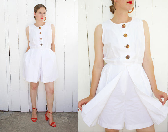 SOLD White Cotton Skort Romper L|XL - Coast to Coast Mobile Vintage