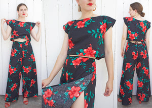 SOLD Hawaiian Hibiscus Floral Print Two Piece Cotton Pant Set S|M - Coast to Coast Mobile Vintage