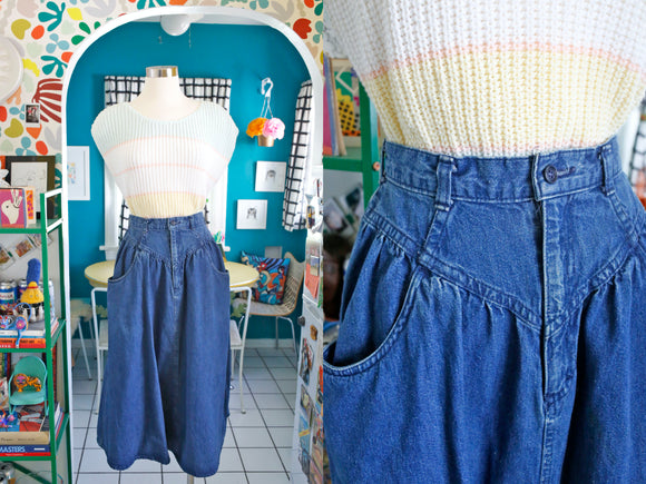 Denim Skirt with Pockets | Small 27