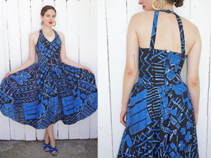 Graphic Print Cotton Sundress with Cut Out Back | Medium - Coast to Coast Mobile Vintage
