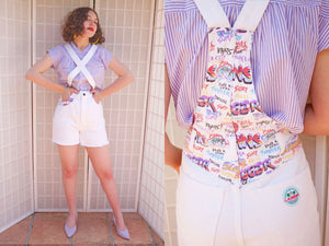 SOLD ST4 LA Gear White Denim Shorteralls | Medium