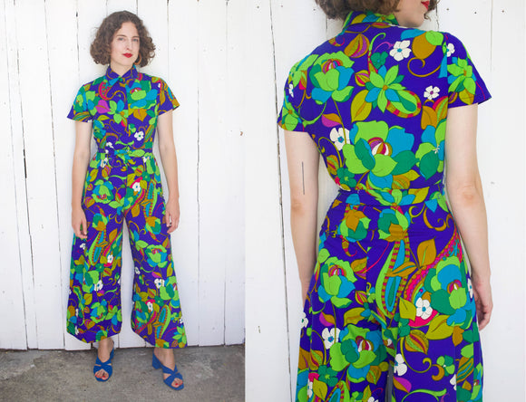 SOLD Alice Vibrant Floral Print Cotton Jumpsuit | Small - Coast to Coast Mobile Vintage