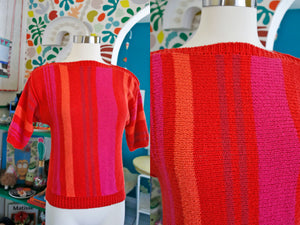 Fruit Stripe Hand Knit Cotton Top S|M