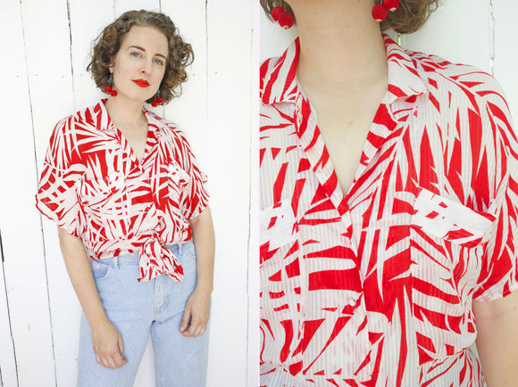 SOLD Flora Kung Silk Tropical Blouse M|L