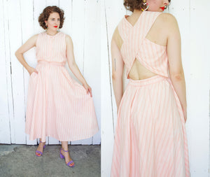SOLD Peach Striped Cotton Sundress M|L