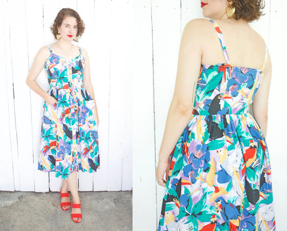 Cute Tropical Bird Print Sundress | Medium