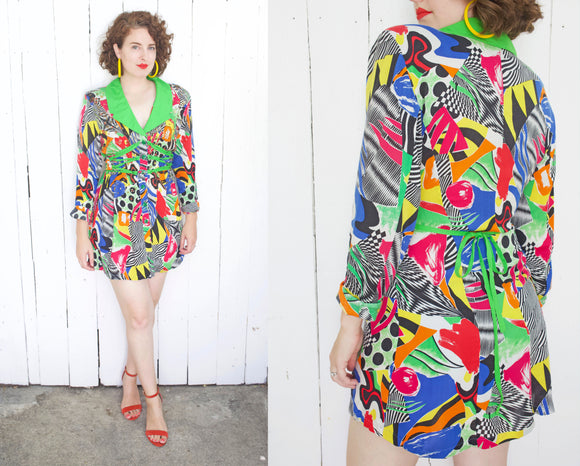 SOLD Colorful Geometric Print Shirtdress | Large