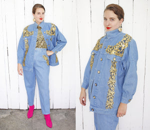 Embellished Denim Set M|L