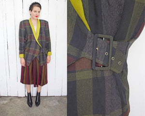 SOLD P3 Plaid Belted Blazer | Large
