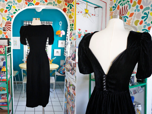 SOLD Black Velvet Low Back Dress | Small