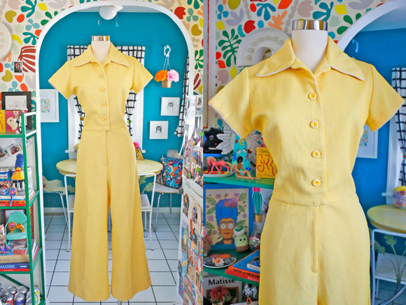 Yellow Striped Jumpsuit | Medium