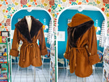 Gingerbread Wool + Faux Fur Coat | XL
