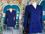 I.Magnin Navy Wool Double Breasted Blazer | Large