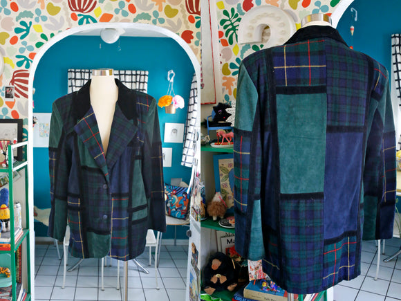 Patchwork Plaid + Suede Blazer | XL