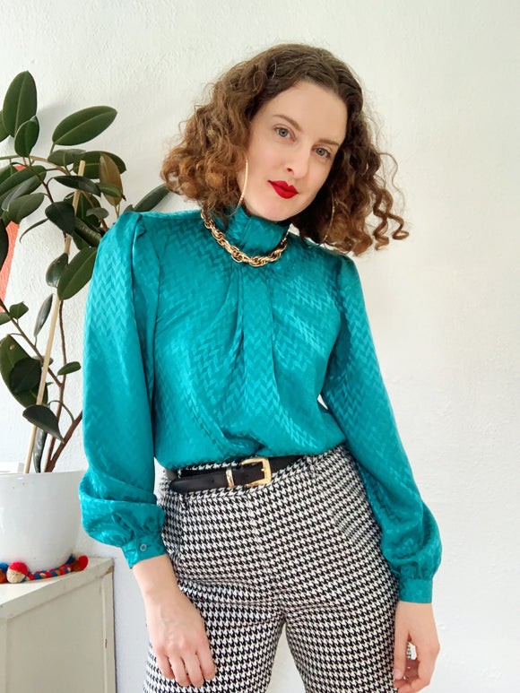 Teal Chevron Print Blouse | Small