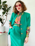 Oleg Cassini Emerald Green Skirt Suit | Large
