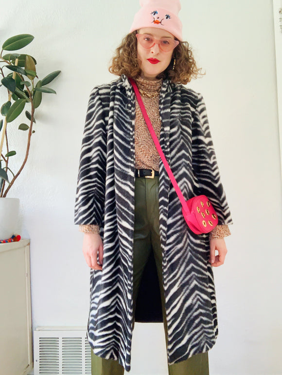 SOLD Faux Fur Zebra Pattern Jacket L|XL