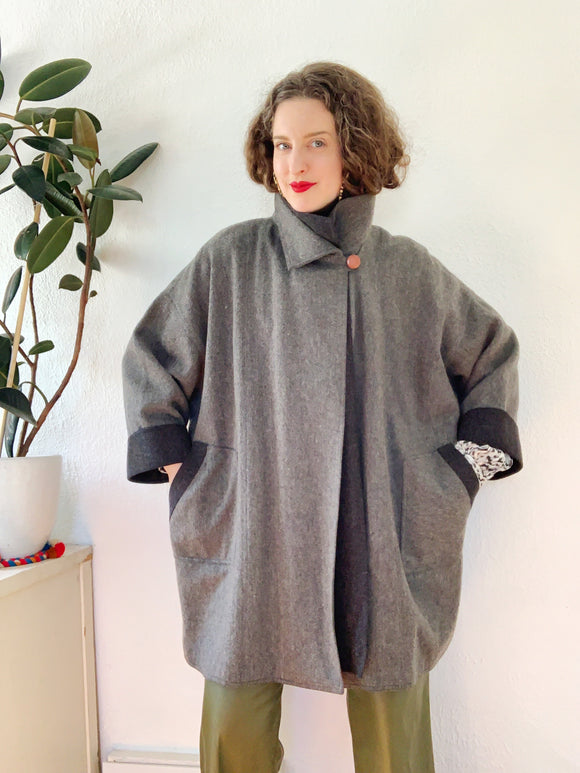 SOLD Gray Wool Avant Garde Coat L|XL