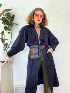 Navy Blue Pure Wool Trench Coat L|XL