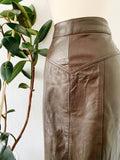 Soft Chocolate Brown Leather Pencil Skirt | Medium