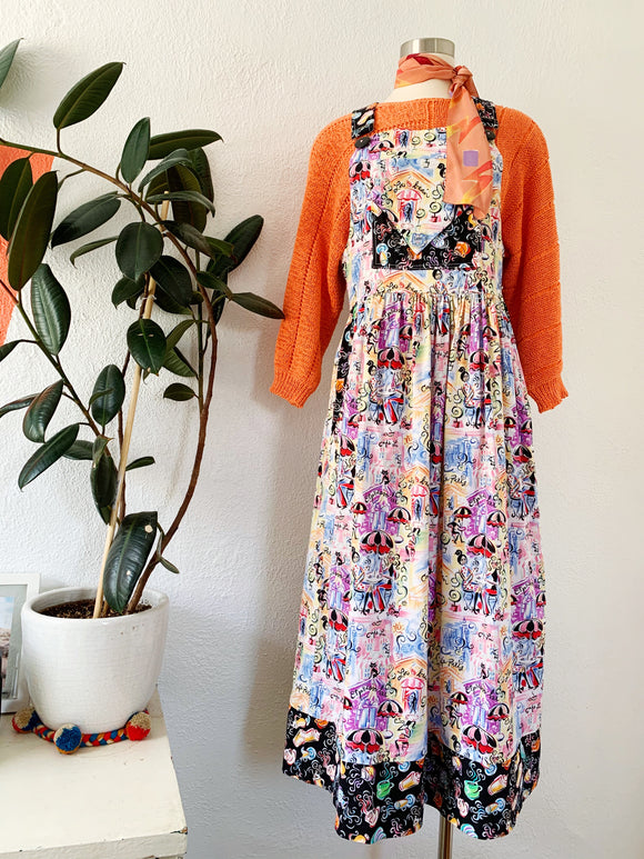 Cute Cafe Novelty Pattern Overall Dress | Small