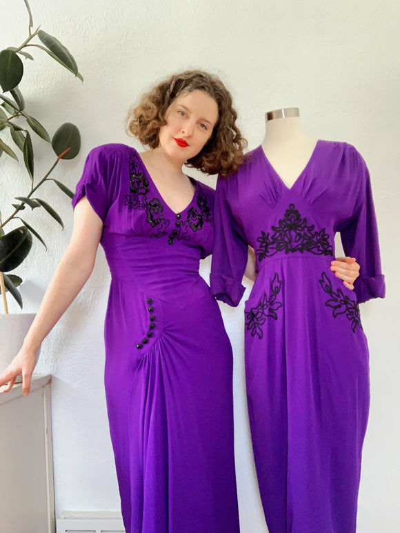 Karen Alexander Romantic Purple Dress with Sequin and Embroidery Design | Medium