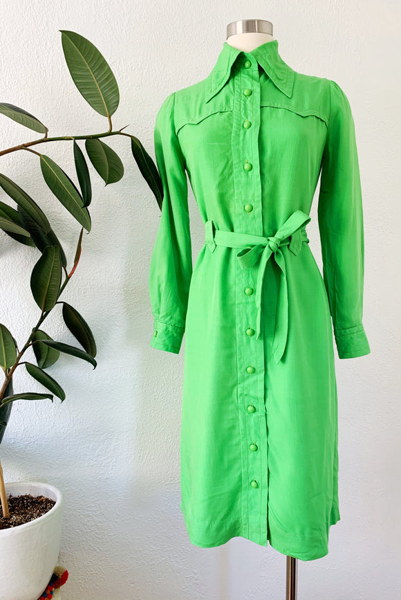 Sour Green Apple Western Inspired Shirtdress | Small