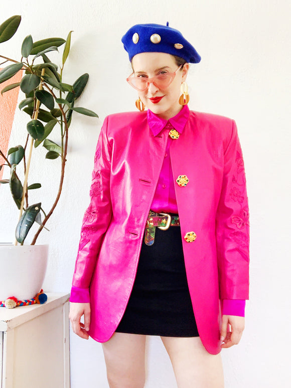Pink Leather Blazer with Floral Embroidery | Medium