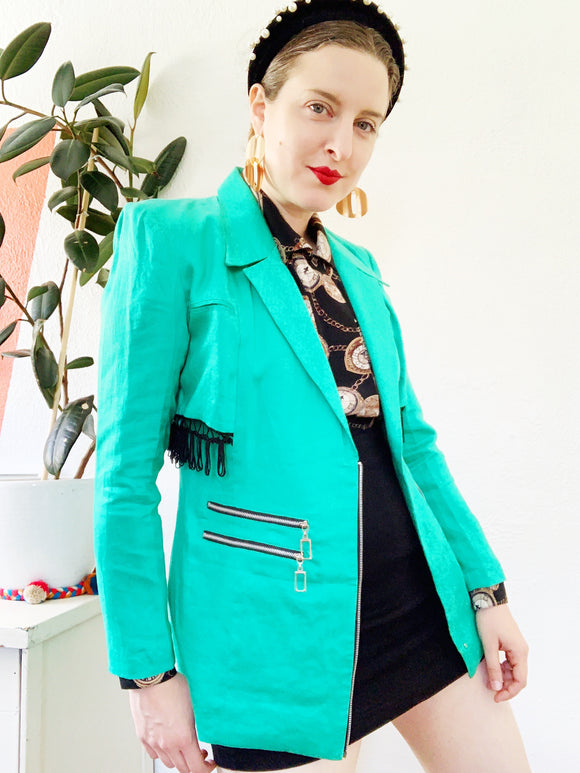 Spearmint Green Fringe and Zipper Embellished Blazer | Small