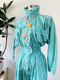 D. Frank Teal Cotton Jumpsuit with Pastel Buttons S|M