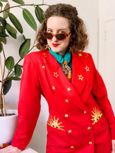 Red Double Breasted Blazer with Golden Sun and Stars Embroidery L|XL