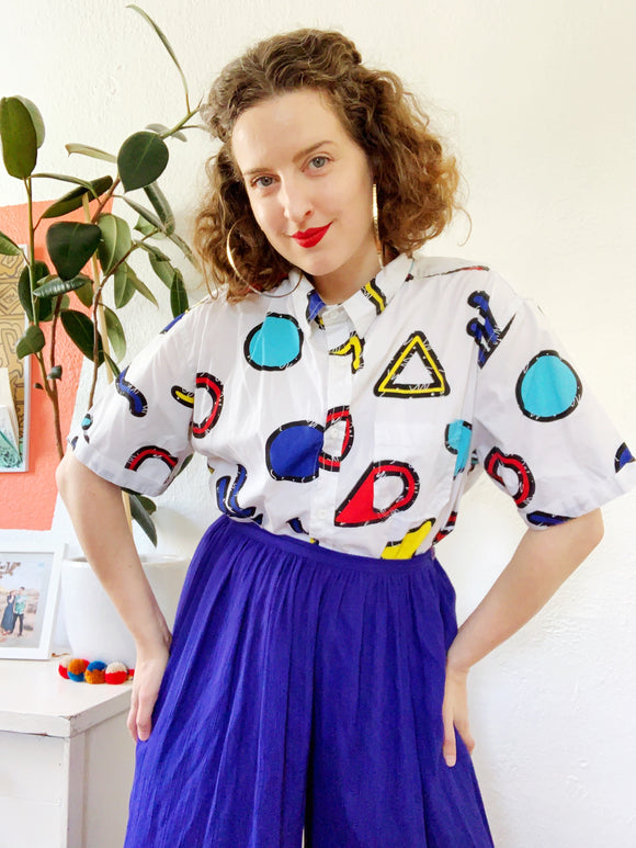 Colorful Primary Shapes Print Button Down | XL