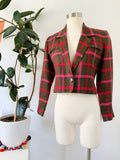 Anne Klein Linen Plaid Cropped Blazer | Small