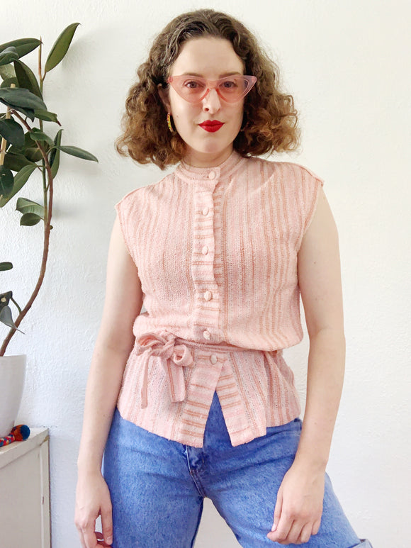 Peach Pink Striped Button Down with Waist Sash | Small
