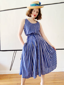 Together! Blue Striped Sundress | Small or Medium