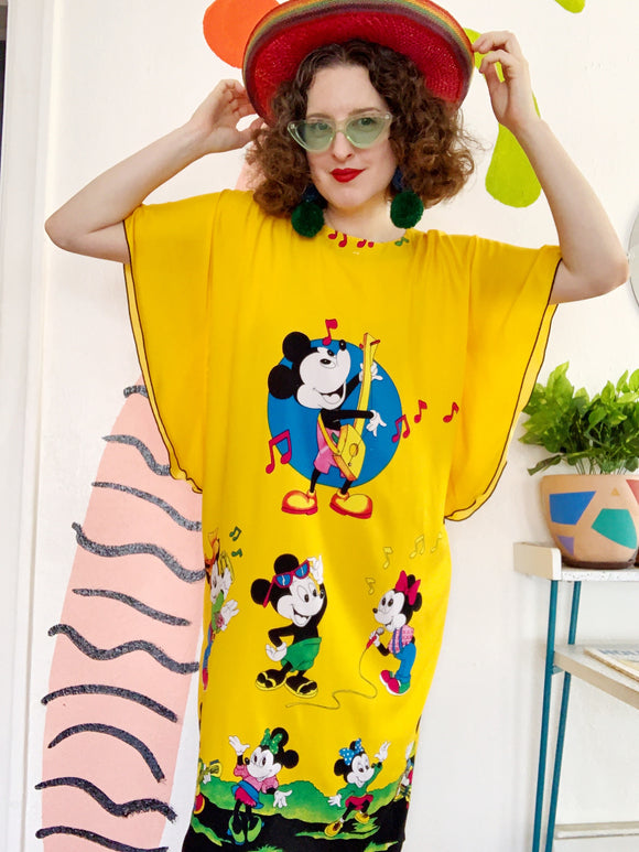 Elok Golden Yellow Mickey Mouse & Family Print Caftan | XL