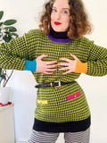 Color Blocked Houndstooth Tunic Sweater | Large