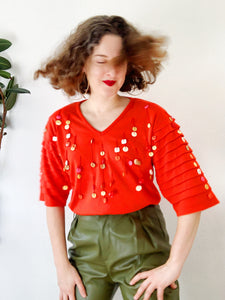 Fun Button Embellished Tomato Red T-Shirt | Medium
