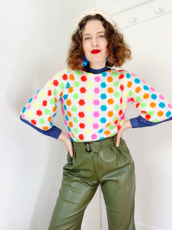 Colorful Candy Dot Sweater | Medium