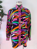 Oleg Cassini Printed Silk Button Down | Large