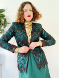 Forest Green Lace and Sequin Jacket | Small