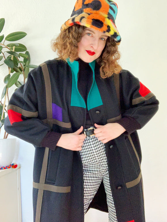 Herman Kay Mondrian Inspired Dolman Coat | XL