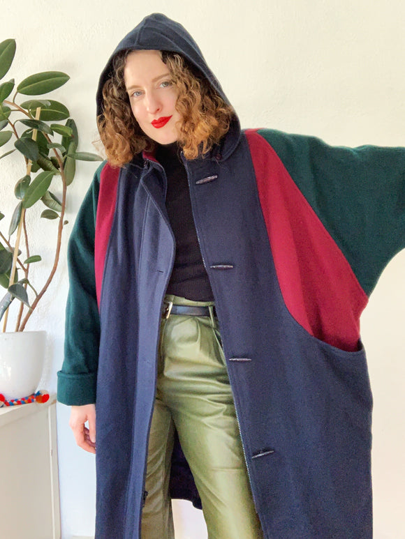 SOLD Color Blocked Toggle Wool Coat with Hood | XXL