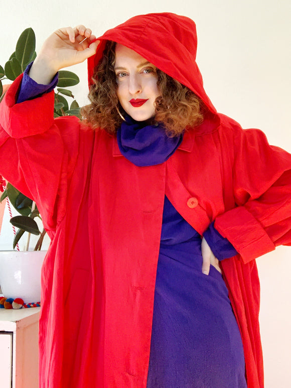SOLD Red Water Repellant Coat with Removable Hood | 2X