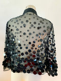 Sheer Black Blouse with Paillettes | Medium
