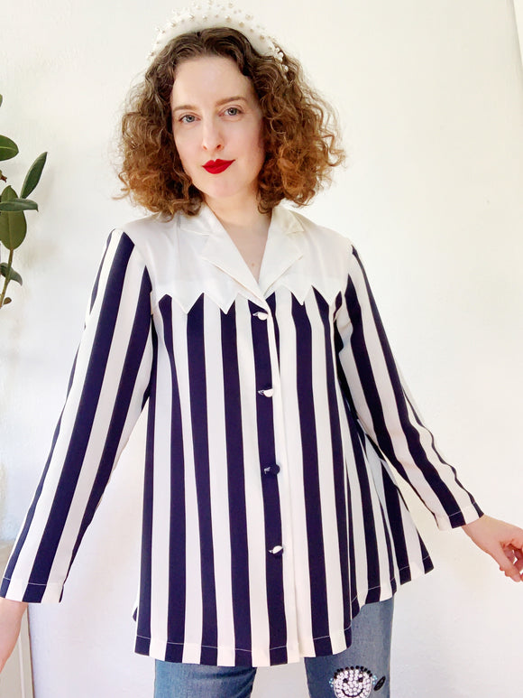 Striped Navy Blouse with Fun Yoke | Medium