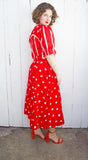Red Polka Dot Cotton Dress | Medium