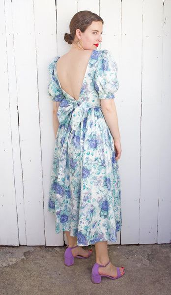 Laura Ashley Blue Floral Dress | Small